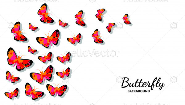 Flock of flying colored butterflies - Vector Illustration